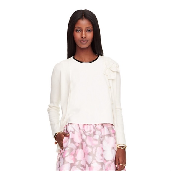 kate spade Sweaters - Kate Spade V-neck Bow Cardigan in Cream